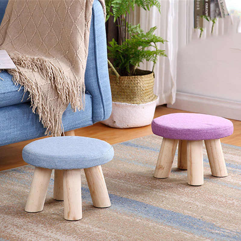 2019Hot Nordic Footrest Seat Stool With Removable Cover 3 Legs Modern Luxury Upholstered Solid Wood Footstool With Ottoman Pouf