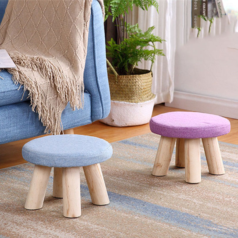 2020Hot Nordic Footrest Seat Stool With Removable Cover 3 Legs Modern Luxury Upholstered Solid Wood Footstool With Ottoman Pouf