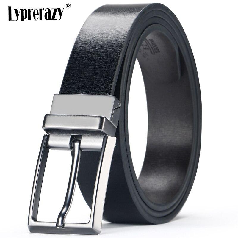 Lyprerazy Vintage Fashion Male Reversible Cow Leather Belt Men Business Trouser Belt Genuine Men Leather Belts
