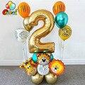 18 шт джунгли воздушные шарики в виде животных комплект 32 дюймов номер Globos хром латексные воздушные шары с металлическим отливом День рожден...