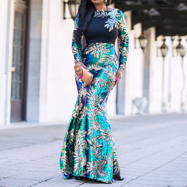 Vintage Green Long Sleeve Mermaid Sequins Dress Sparkly Elegant Plus Size Shiny Party Evening African Long Dresses for Women 1