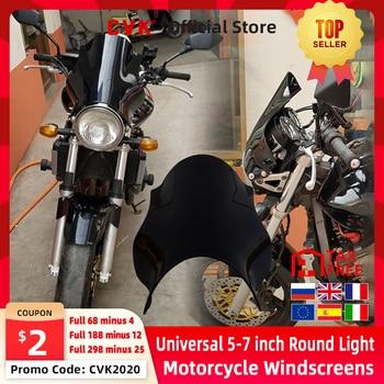 CVK Universal Motorcycle Windshield Round Lights Street Bike Windscreen As For HONDA Hornet CB400 CB600 CB750 CB900 CB919 CB250 наклейки для мотоцикла super 6 honda hornet cb250