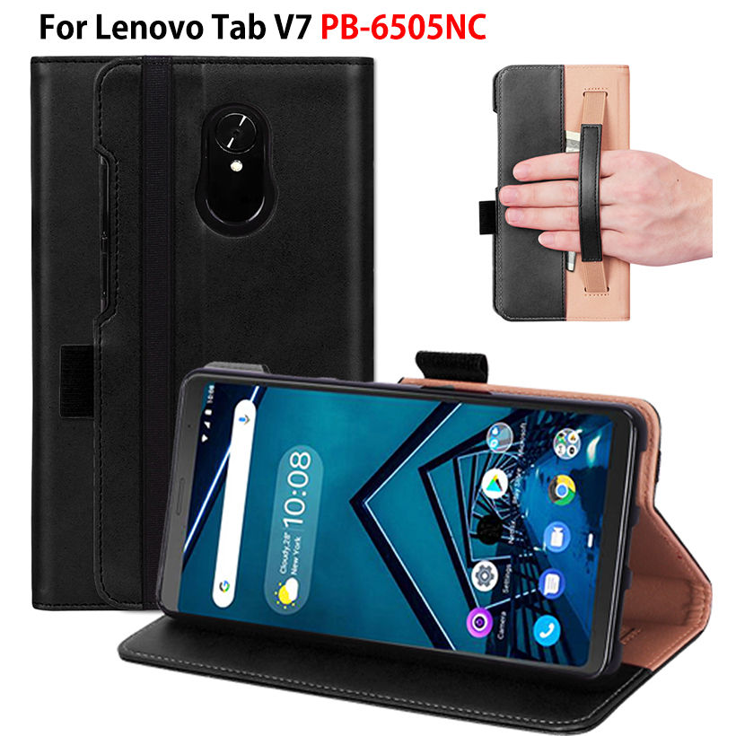 Luxury Case For Lenovo Tab V7 PB-6505NC Cover Coque Funda Soft Silicone PU Leather Hand Holder Stand Skin Shell Capa