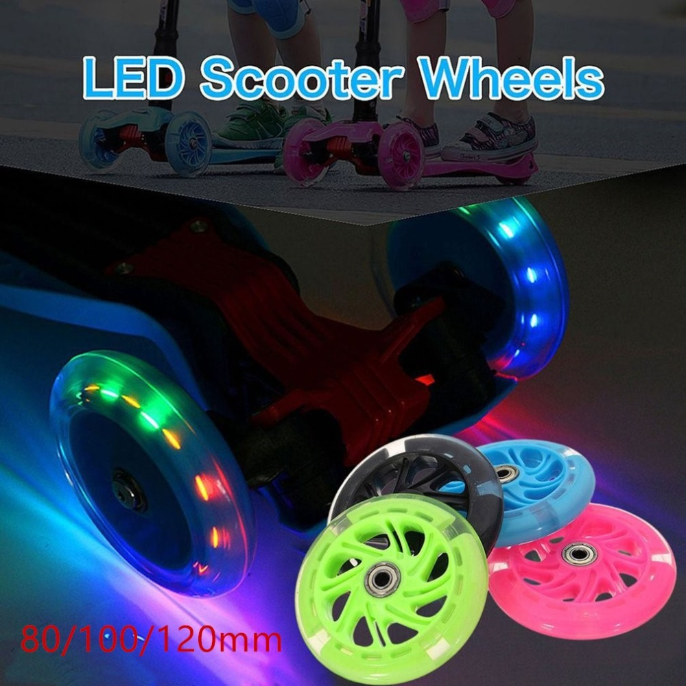 80mm 100mm 120mm Scooter Wheel LED Flash Light Up Scooter Wheel for Scooter Bearings with 5 Colors Light Kid Gifts toys