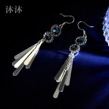 Baroque retro tassel earrings female Korea 2019 new tide long  rhinestone bohemian