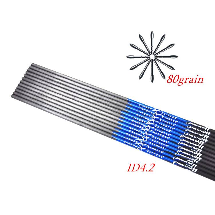30 Inch Spine 400/500/600/700/800/900/1000 Pure Carbon Arrow Shaft ID 4.2mm With Arrow  Point