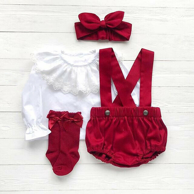 3PCS Toddler Kid Baby Girl Clothes Set For Autumn Lace Floral Top+Bib Pants Headband Outfit Set Top Pants Leggings Red Outfits