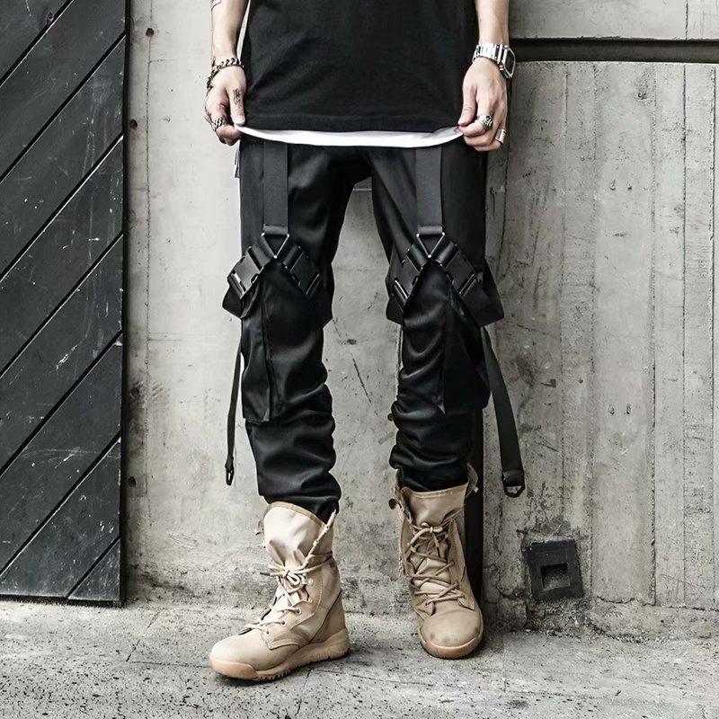 2020 Hip Hop Joggers Men Black Harem Pants Multi-pocket Locomotive Boy Sweatpants Streetwear Casual Mens Functional Cargo Pants