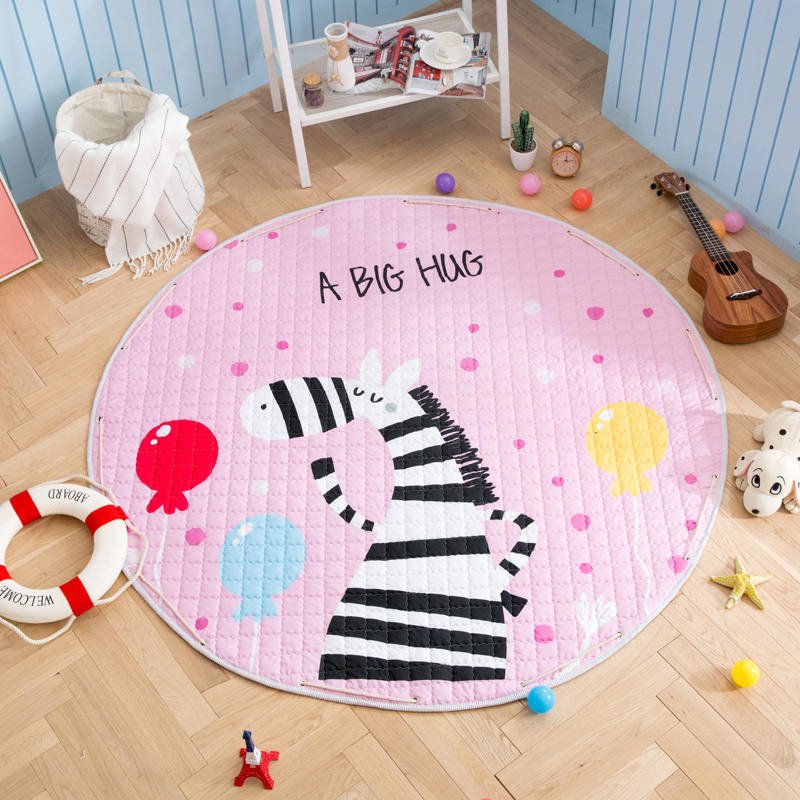 H8d29fbebdf82478ea586fde9c21c12935 Kid Soft Carpet Rugs Cartoon Animals Fox Baby Play Mats Child Crawling Blanket Carpet Toys Storage Bag Kids Room Decoration
