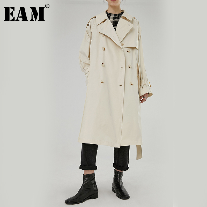 [EAM] Women Double Breasted Long Big Size Trench New Lapel Long Sleeve Loose Fit Windbreaker Fashion Autumn Winter 2019 1H514