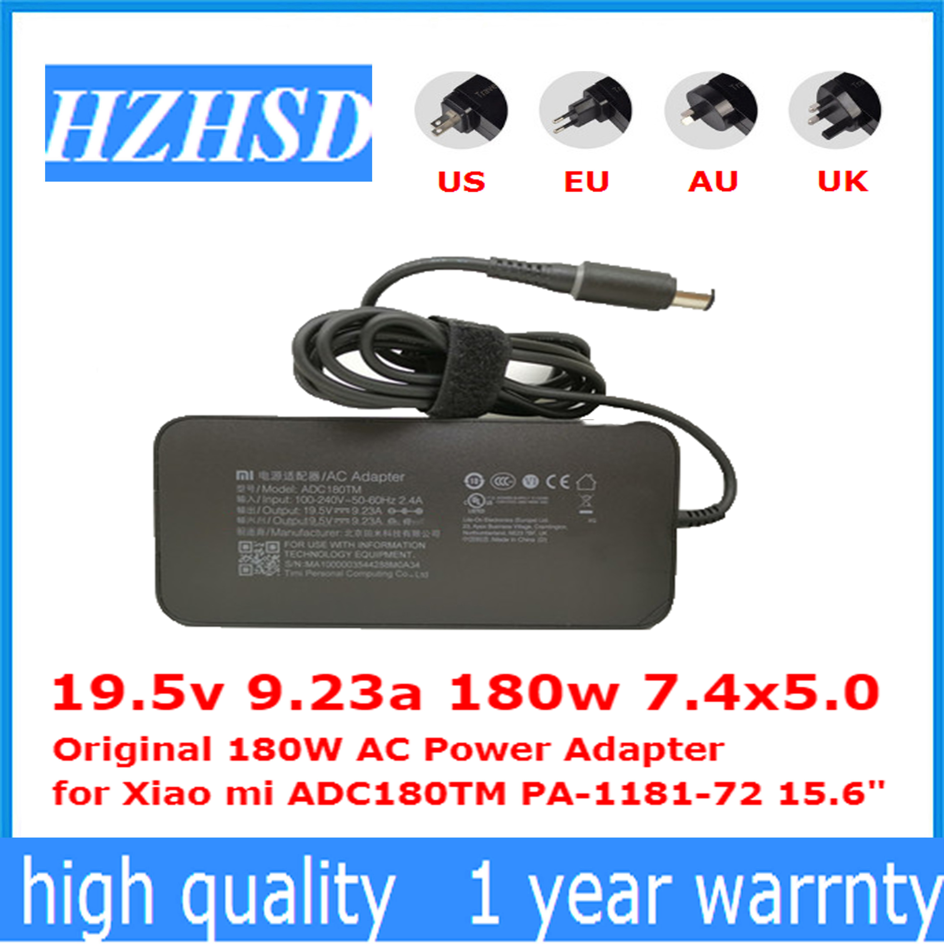 19.5v 9.23a 180w 7.4x5.0 new Original 180W AC Power Adapter for Xiao mi ADC180TM PA-1181-72 15.6