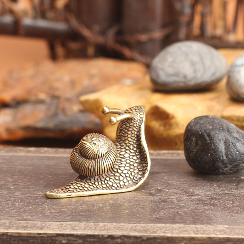 Copper Mini Snail Statues Antique Brass Tea Pet Home Decorations for Living Room