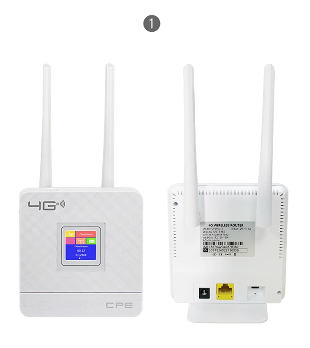 Wireless CPE 4G Wifi Router Portable Gateway FDD TDD LTE WCDMA GSM Global Unlock External Antennas SIM Card Slot WAN/LAN Port 2