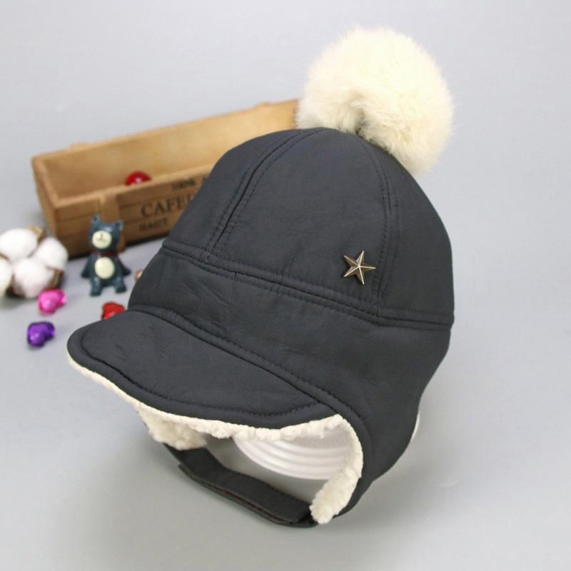 Маска для лица для мальчиков и девочек; шапка-ушанка с помпоном; милая детская зимняя бархатная утолщенная теплая ветрозащитная плюшевая шапка - Цвет: Темно-серый