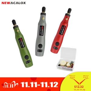 Image 1 - NEWACALOX DIY Mini Dreh Werkzeug USB DC 5V 10W Variable Geschwindigkeit Drahtlose Elektrische Grinder Set Holz Carving Stift für Fräsen Gravur