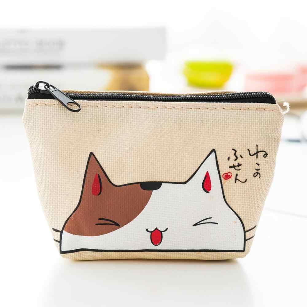 Mini monedero de gatos de dibujos animados pequeña cartera creativa titular de la tarjeta de almacenamiento de la llave bolsa de carga Kawaii monedero con diseño de gato para mujeres niñas niños