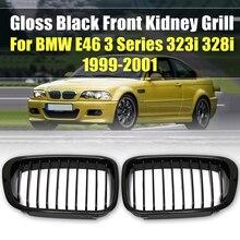 Новая пара, матовые черные M-Color/глянцевые черные решетки для автомобиля, решетки для BMW E46, 3 серии, 4 двери, седан, 1998, 1999, 2000, 2001