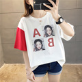 Short Sleeve T-shirt Women's Photo Shoot 2019 Summer Korean-style Loose-Fit Crew Neck Avatar Printed Casual Tops