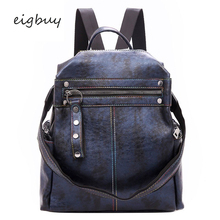 Party Pu Solid Lock Black Retro Backpacks For Teenage Girls Famous Brand Teenagers Anti-theft Women Backpack Rucksack