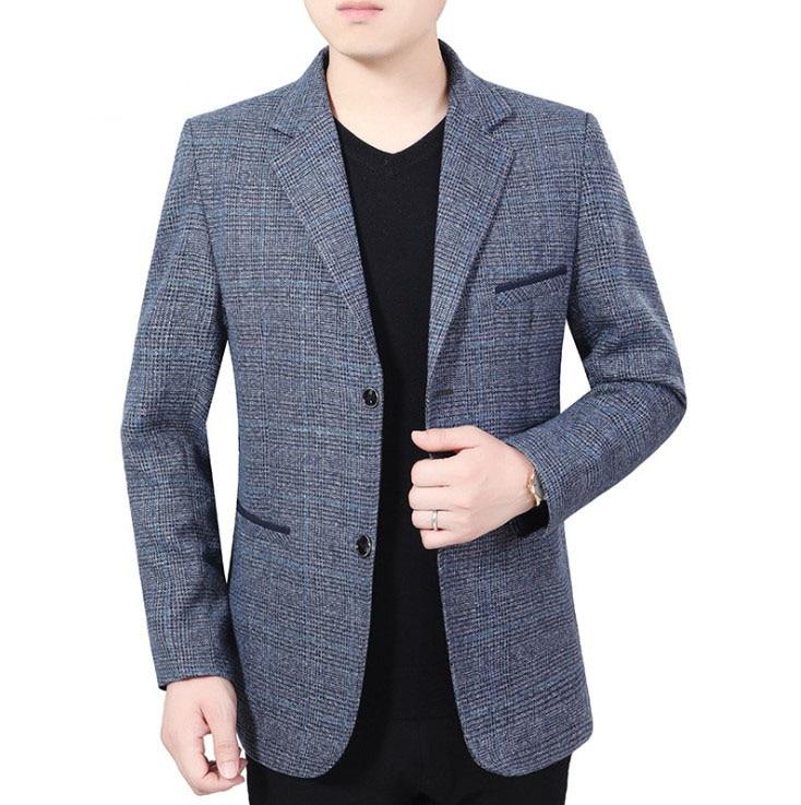 Men's Lattice Suit Jackets Spring Autumn Slim Fit Suit Blazer New Stylish Formal England Suit Jackets Male Casual Blazers