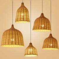 Rattan wicker pendant lamp Handmade Rattan Weaving Pendant Lights Restaurant Cafe Dining Room Hanglamp Home Decor Bamboo Lamp
