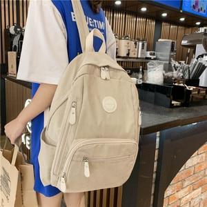 Image 5 - حقيبة ظهر نسائية جديدة مصنوعة من النايلون ذات جودة عالية حقيبة مدرسية بلون واحد للفتيات المراهقات حقائب ظهر للسفر بتصميم أنيق كتاب Preppy Mochila