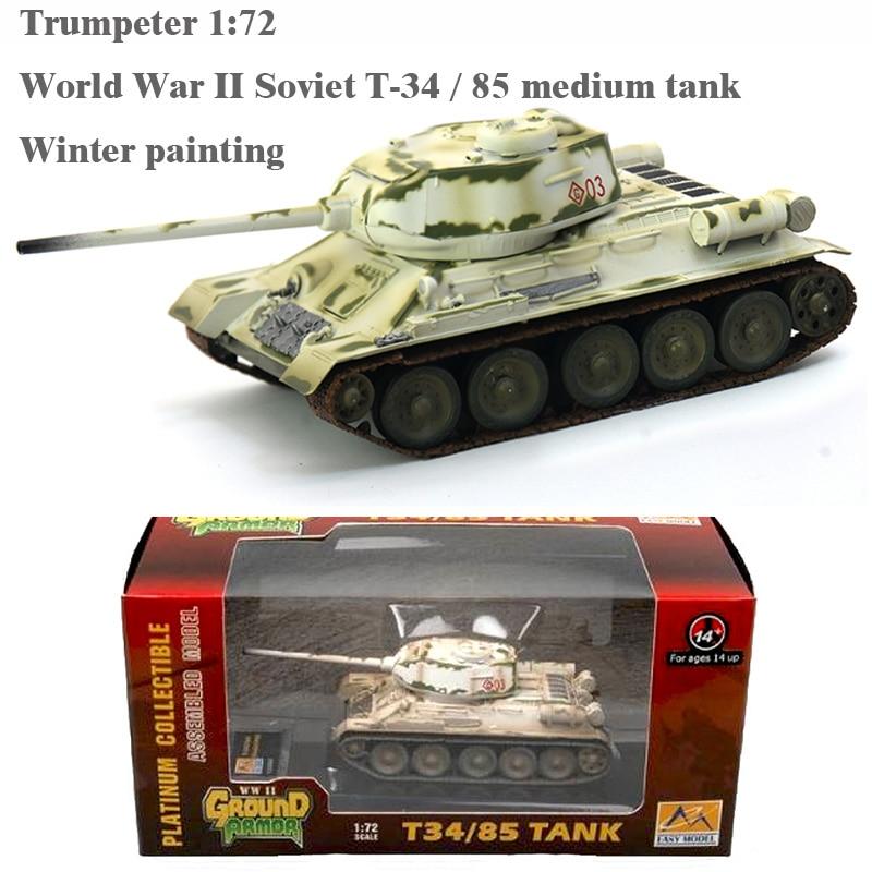 Trumpeter 1:72  World War II Soviet T-34 / 85 Medium Tank  Winter Painting  36271 Finished Product Model