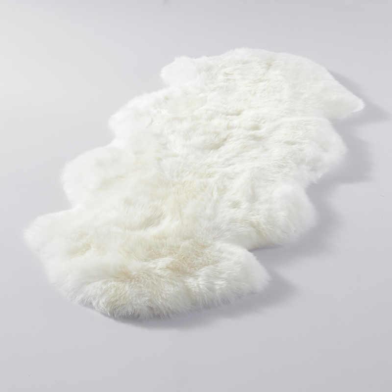 2P 대형 정품 양모 깔개 진짜 양모 깔개 흰색 부드러운 침실 양탄자 카펫 큰 양 피부 침대 소파 두꺼운 천연 양모 담요