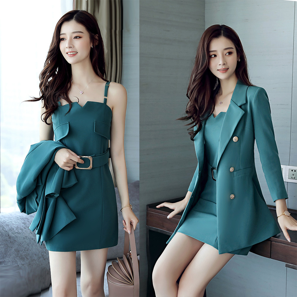 Spring Autumn Business Suit Elegant Office Dress Lady Work 2 Pieces Set Long Blazer and Sleeveless Suspender Dress Suit Slim
