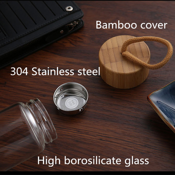 380ml 450ml High Quality Glass Water Bottles Bamboo Lid With Rope Drink Bottled For Beverages Outdoor Brief Portable Tea bottle 4