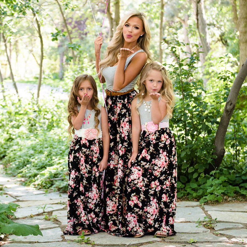 H8d2af99834034b62826774e384581662e - NASHAKAITE Mother daughter dresses Floral Printed Long Dress Mommy and me clothes Family matching clothes Mom and daughter dress