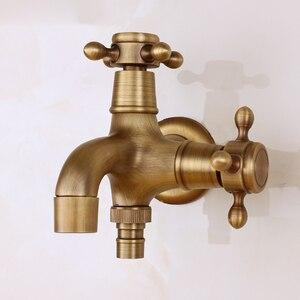 Image 4 - 골동품 황동 벽 마운트 더블 수도꼭지 욕실 액세서리를 사용하여 야외 싱크 가든 도청 장식 세탁 Bibcock 수탉