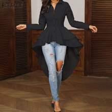 Zanzea модная женская блузка с оборками на подоле элегантная