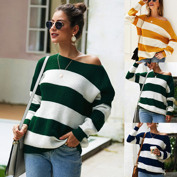Pullover Sweater Knitted Winter 2020 Oversize Striped Casual Female Pullovers Autumn Thick Womens Jumper Slash Neck Sweater female costume emberens 4217 striped handsome casual with belt autumn winter российское production delivery from russia