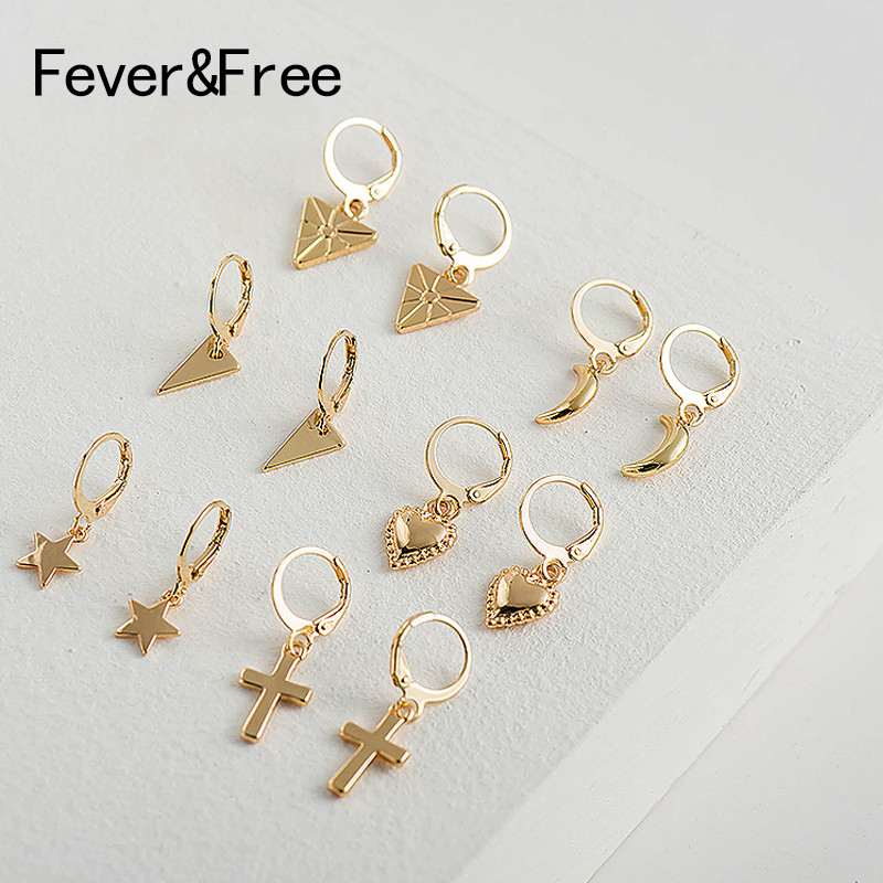 Fever&Free 2019 New Small Gold Hoop Earrings Mini Cross Heart Women Cartilage Earrings Fashion Pendientes Jewelry For Lover Gift