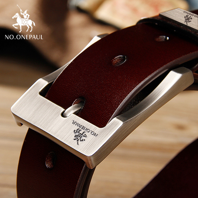NO.ONEPAUL cow genuine leather luxury strap male belts for men new fashion classice vintage pin buckle men belt High Quality 2