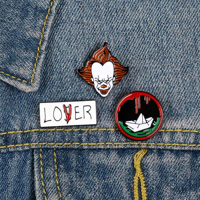 We Alle Float Down Hier Papier Boot Clown Pennywise Lover Pins Stephen King 'S Het Broches Verliezer Club Revers Pin gift Voor Vrouwen Mannen
