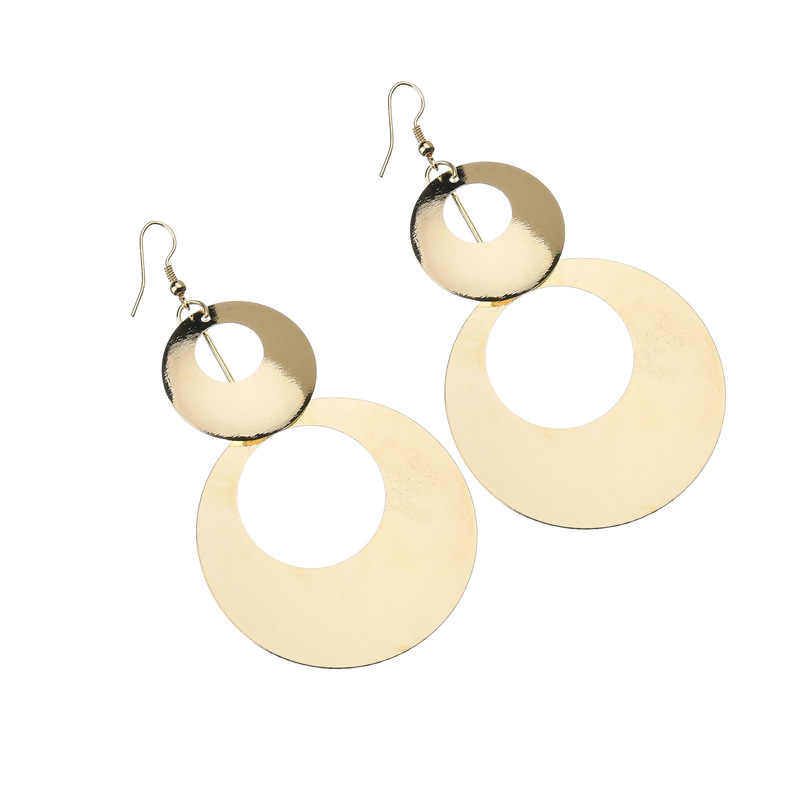 VOHE New exaggerated metal big circle atmospheric disc multi-level fashion retro round boho style hollow ladies earrings