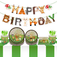 Safari Jungle Woodland Party Banner Forest Cartoon Animal Kids Birthday Baby Shower Decorations Supplies