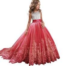 פרח ילדה מסיבת חתונה רומנטית שושבינה של זנב שמלת ילדה של מסיבת יום הולדת מסיבת סיום הראשונה סעודת האדון שמלה