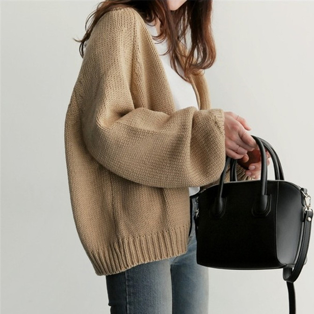 Women's Knitting  Loose Sweater Ladies' Casual Style Coat Solid Color Outwear Casual Open Front Cardigan Coat 8