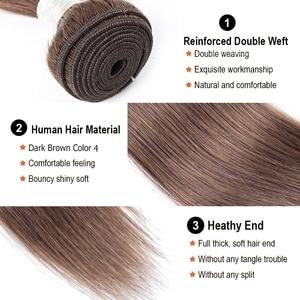 Image 2 - MOGUL HAAR Farbe 4 Schokolade Braun Gerade Haar Bundles mit Verschluss Peruanische Gerade Remy Menschenhaar Verlängerung 10 24 zoll