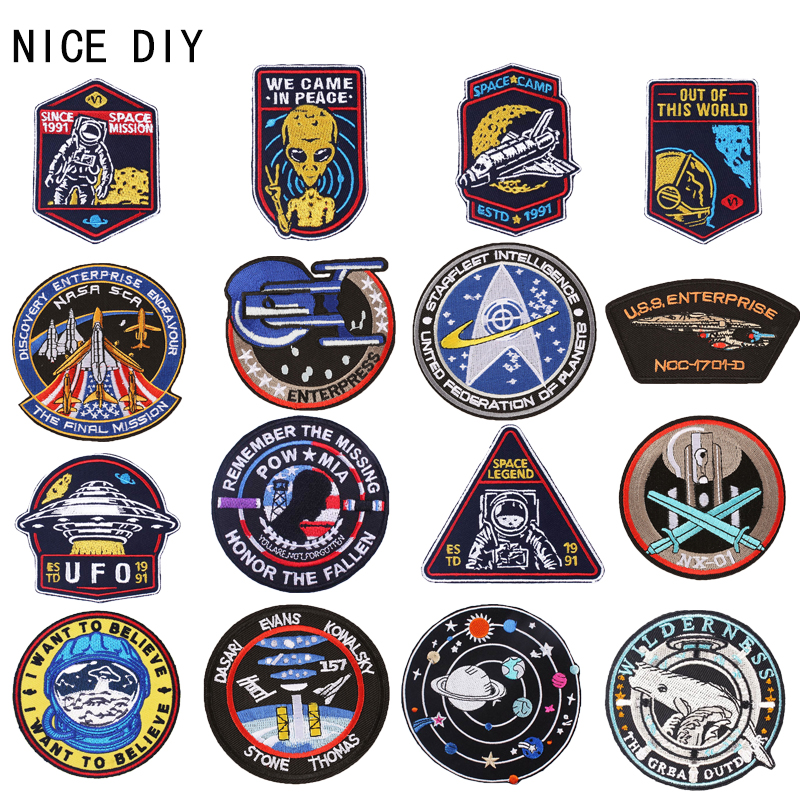 Nicediy Star Patch USS Enterprise Punk Patches Iron On Clothing Embroidery Patch Spacecraft Trek For Jacket Hippie Badge C