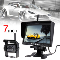 7 zoll TFT LCD Auto Monitor Drahtlose Version HD Display Kamera Wendehilfe-unterstützungsradar Kamera Parkplatz system mit 18IR LED Kamera