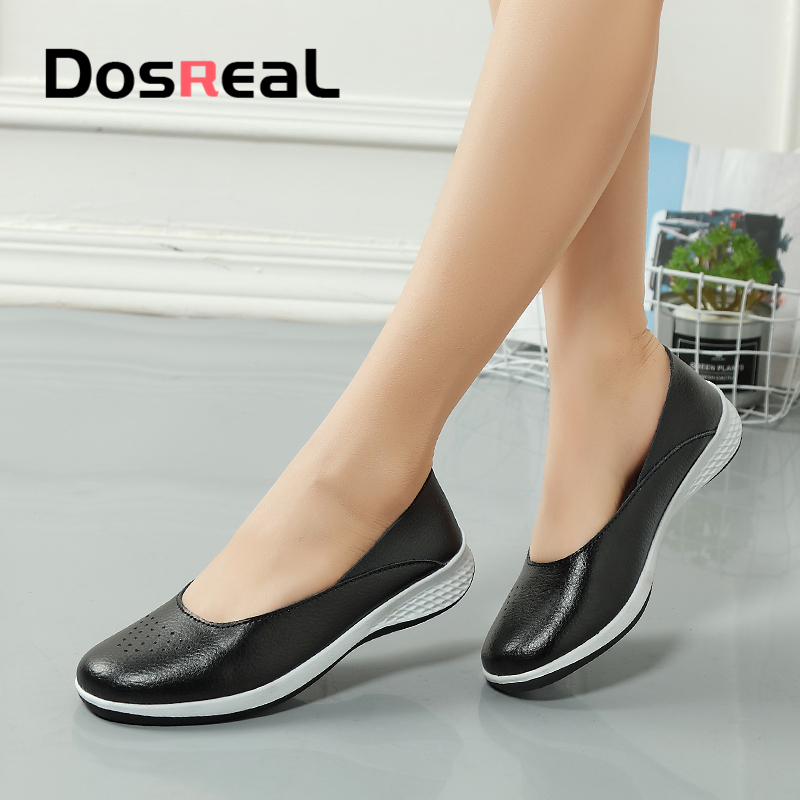Dosreal Women Loafers Shoes Cow Leather Females Shallow Flats Shoes Woman Slip On Ladies Shoes Casual Flats Moccasins Large Size