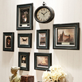 Vintage Classic Picture Frame Dark Color Quality Wooden Photo Frame Wall Hanging 8Pieces/set Photo Frames With Oval Clock Fotos