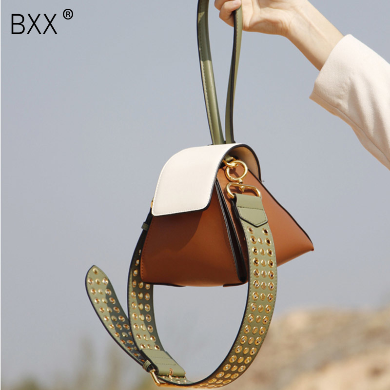 BXX 2019 Spring Summer Woman New Stylish Hit Color Single Strap Spliced Rivet PU Leather
