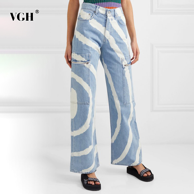 VGH Casual Asymmetrical Women Jeans High Waist Painted Hit Color Irregular Denim Wide Leg Pants For Female Clothing Fashion Tide