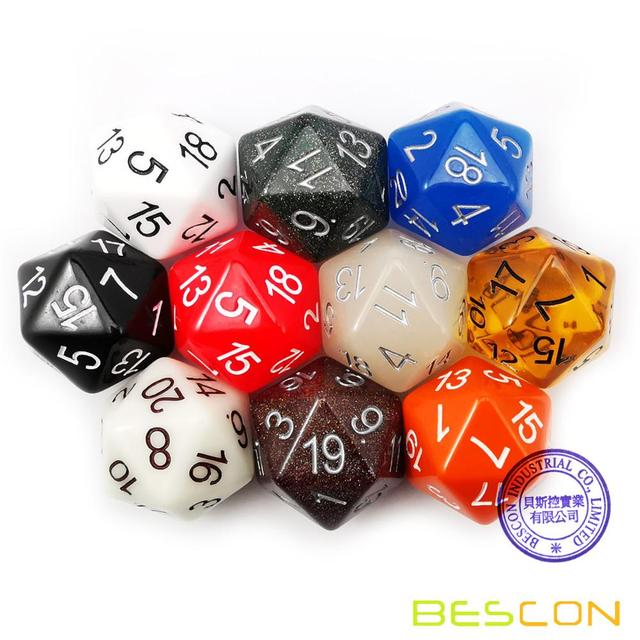 Bescon Jumbo Glowing D20 38MM, Big Size 20 Sides Dice 1.5 inch, Big 20 Faces Cube in Various Solid, Glitter, Glowing Colors 6