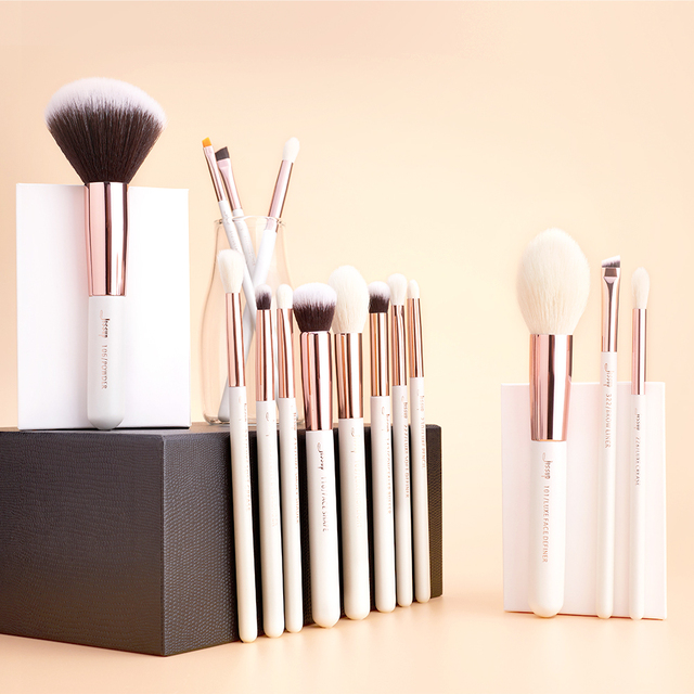 Jessup Pearl White/Rose Gold Professional Makeup Brushes Set Make up Brush Tools kit Foundation Powder natural-synthetic hair 5